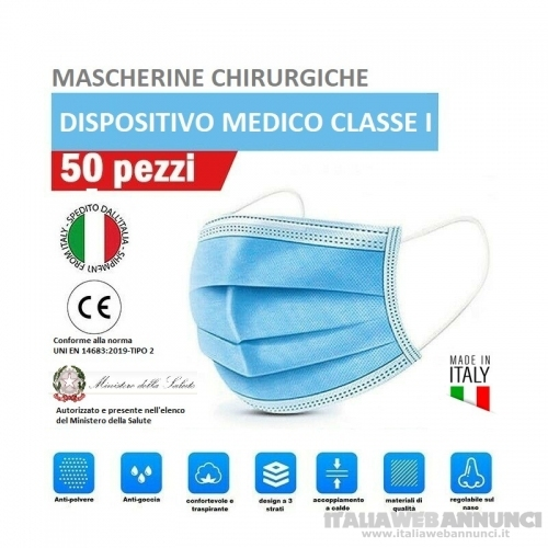 50 Mascherine chirurgiche Made in Italy 3 veli in TNT idrorepellente alta qualità filtrante protezione facciale e respiratoria